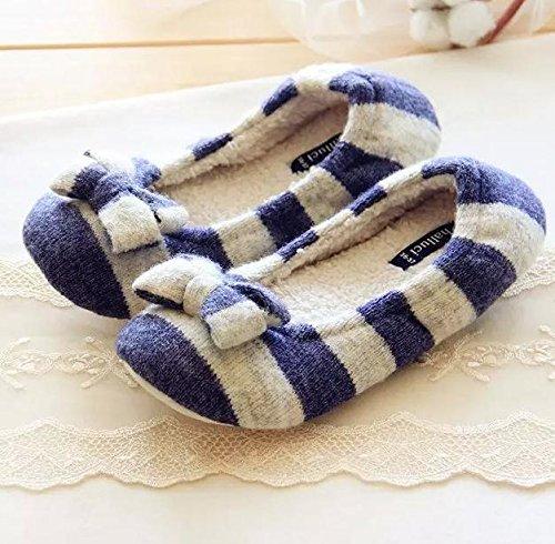 HH Pantoufles chaussons Cachemire Accueil pantoufles chaussons antidérapants de plancher Blue