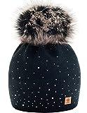 Winter Cappello Cristallo Più Grande Pelliccia Pom Pom invernale di lana Berretto Delle Signore Delle Donne Beanie hat Pera Sci Snowboard di moda MFAZ Morefaz Ltd
