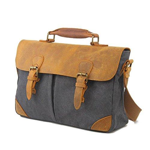 L'Europa e la moda pacchetto di tela valigetta Stati Uniti retrò di svago portatile con la borsa in pelle , army green dark gray