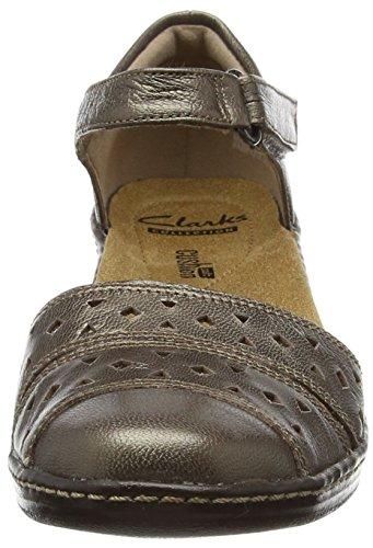 Clarks Wendy Laurel, Sandales Bride cheville femme Gris (Pewter Leather)