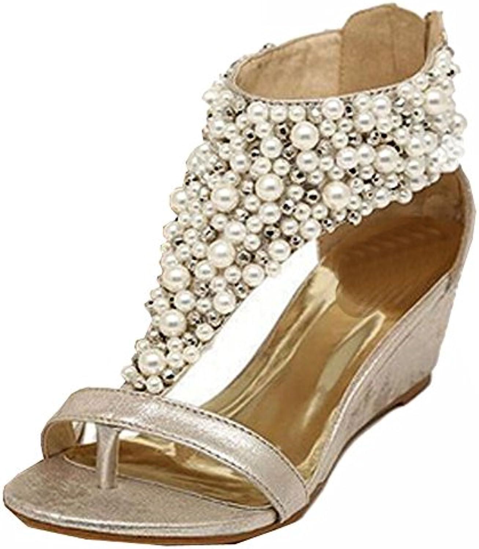 2015 Sommer Frauen Schuhe Strass-Reißverschluss Perle Perlen Sandelholze High Heels golden zwängt Sandelholze Perlen 5989f0