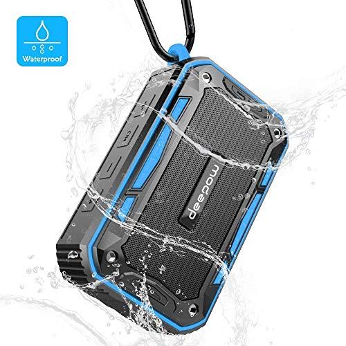 DEEPOW Enceinte Bluetooth Waterproof, Haut Parleur Bluetooth Portable avec FM Radio 4.1 10W Radios de Douche Entièrement étanche IP67,Support TF Carte, AUX Line-in et des appels Mains Libres