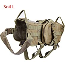 Perro formación militar táctico Molle Chaleco arnés con 3 bolsillos desmontables,suelo L