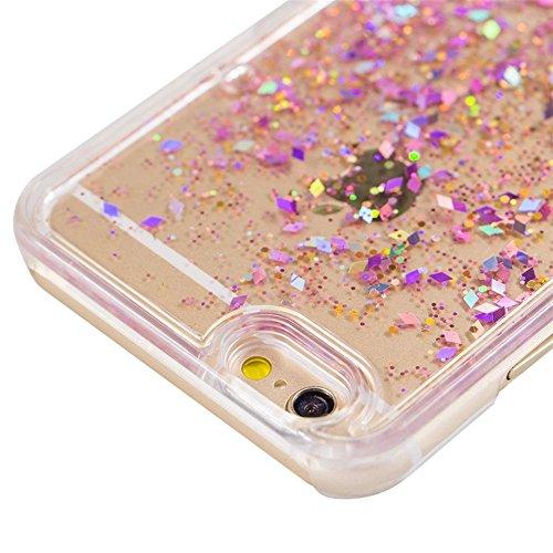 iPhone 77g custodia, Apple iPhone 7(11,9cm) [Liquid glitter] case, Newstars iPhone 7glitter trasparente duro di lusso 3D creative liquido Diamond glitter custodia per iPhone 7, scorre Quicksands  A- Pink Diamonds