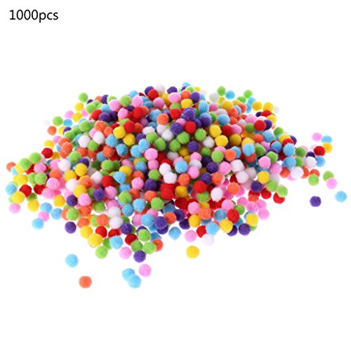 Hoiert 1000Pcs Soft Round Fluffy Craft Pompoms Ball Mixed Color Pom Poms 10Mm DIY Craft As The Picture Shown Random Delivery
