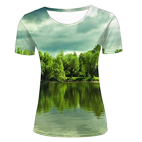 Womens 3d printed casual t-shirts beautiful mountain forest lake tree crewneck short sleeve fashion couple tees m