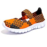 Blivener Women Woven Light Weight Elastic Trainer Comfort Slip On Sport Water Shoes Orange UK4