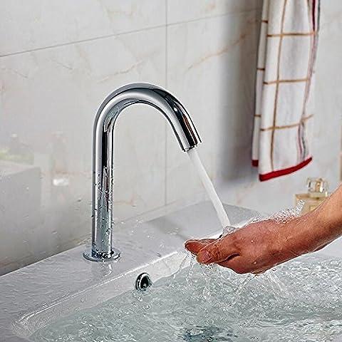 Tourmeler Manos libres grifo automático contemporáneo único sensor montado en la cubierta fría manos buque Torneira Sink faucet Zr1016,Chrome,ac y dc