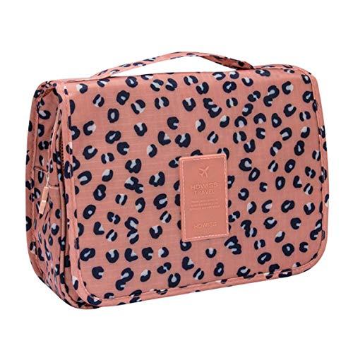 Cooja appeso trousse da viaggio, impermeabile organizer borsa per toilette, set da viaggio beauty porta trucchi per donna ragazza bambina -marrone