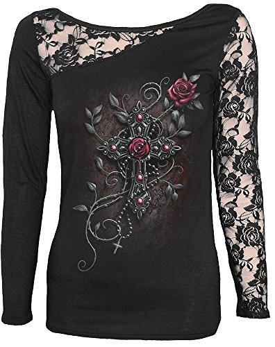 Spiral - Perline, Angelo Donna Pizzo una spalla top nero Black XL