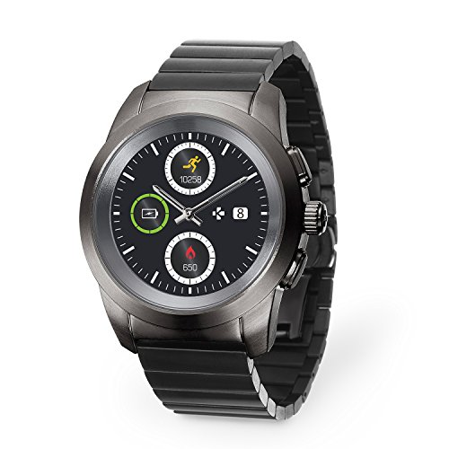 MyKronoz ZeTime Elite Hybrid Smartwatch with mechanical hands over a color touch screen – Regular Brushed Titanium/Modern Link