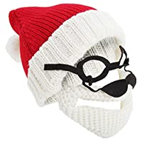 Universal Textiles Mens Knitted Santa Claus Christmas Hat with Glasses & Detachable Beard (One Size) (Red/Cream)