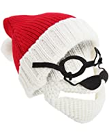 Mens Knitted Santa Claus Christmas Hat With Glasses & Detachable Beard