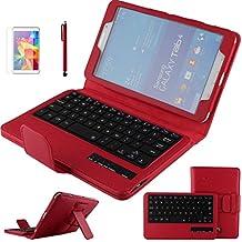 Contever® Funda de PU Cuero con Desmontable Teclado QWERTY Bluetooth Para Samsung Galaxy Tab 4 8.0'' T330 Tableta Protección Cover / Case / Carcasa con Soporte función -- Rojo