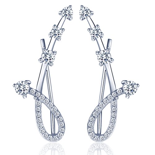 yumilok gioielli da donna in argento Sterling 925con zirconi Meteor Sweep Ear Cuffs Wrap gancio orecchini, ipoallergenico