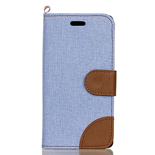 Leather Case Cover Custodia per Sony Xperia X ,Ecoway Caso / copertura / telefono / involucro del modello con a Bookstyle tasche carte di credito funzione con interno morbido in TPU Portafoglio Supporto Slot Schede Protettiva Bumper Caso , cuciture colore Denim Leather Case Cover Custodia - Blue Sky / Brown