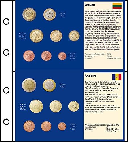 Prophila 6 Stück Euro-Vordruck-Tabletts von 5 Ländern (Litauen, San Marino, Monaco, Vatikan, Andorra) und 1 Blanko-Tablett