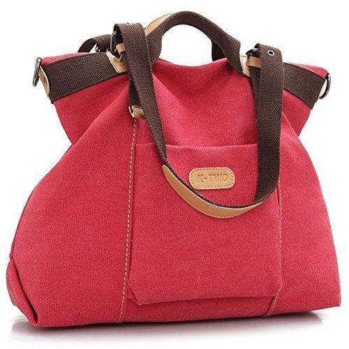 ertasche Casual Vintage Hobo Canvas Handtaschen Top Handle Tote Crossbody Einkaufstasche, Rot (Wassermelone), Large ()