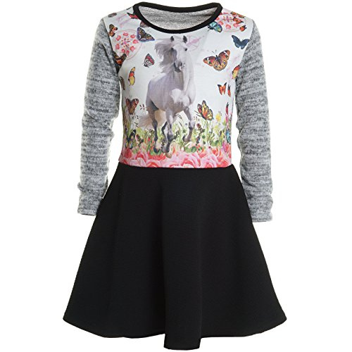 (Mädchen Kinder Spitze Winter Kleid Peticoatkleid Festkleid Lang Arm Kostüm 20920, Farbe:Grau;Größe:140)
