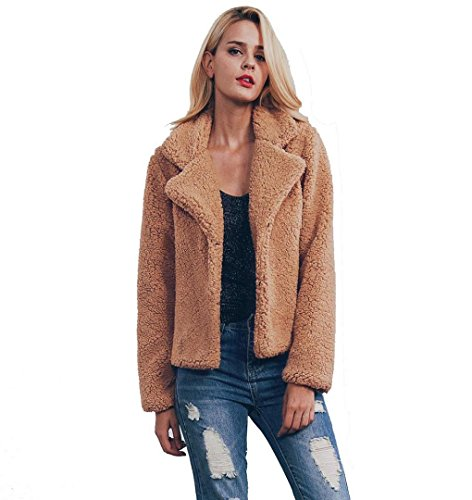 ❀ZEZKT❀Damen Mantel Kurz Winter Elegant Warm Kunstfell Jacke Kurz Mantel Coat Lange Hülse Oberbekleidung V ausschnit Locker Plüsch Jacke Loose Sport Fleece Pullover Outwear Langarmshirt (M, Braun)