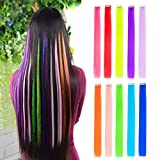 """10pcs Colored Clip in Hair Extensions 22"""" Straight Fashion Hairpieces for Party Highlights Multi-Color"""