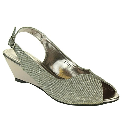 Frau Damen Schimmern Abend Hochzeit Party Abschlussball Braut Peep Toe Slingback Keilabsatz Sandalen Zinn Schuhe Größe 39 (Party Gorgeous Kleider)