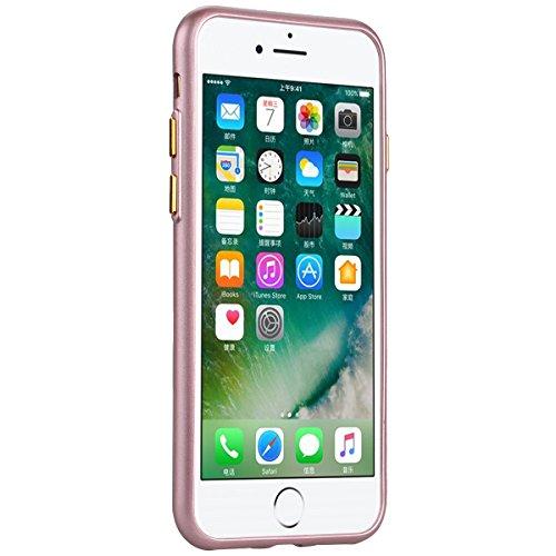 Yokata für iPhone 7 Hülle Silikon Weich TPU Schutz Handyhülle Schutzhülle Clear Case Backcover Bumper Protective Cover - Sapphire Blau + 1 x Kapazitive Feder Rose Gold