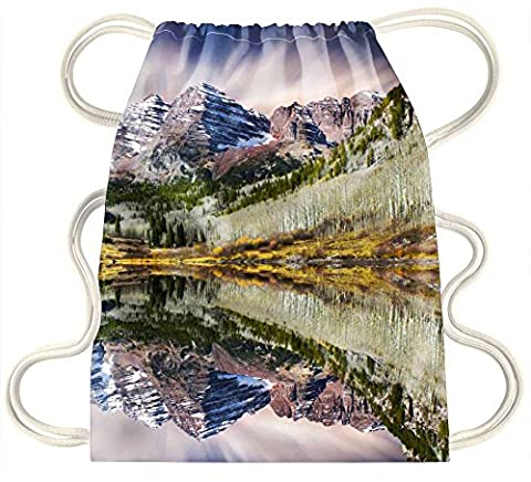 iRocket - Maroon Bells. Aspen, Colorado - Drawstring Backpack Sack Bag