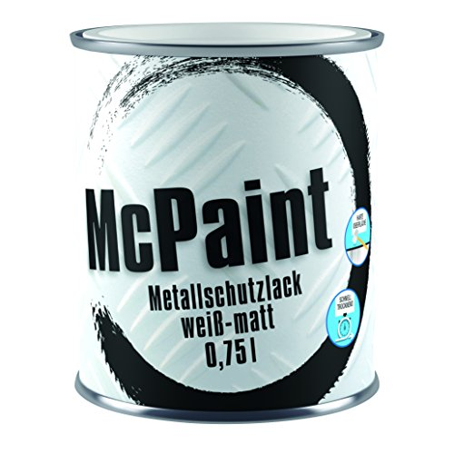 McPaint Metallschutzlack für innen und außen, matt, wasserverdünnbar, weiß, 0,75 L