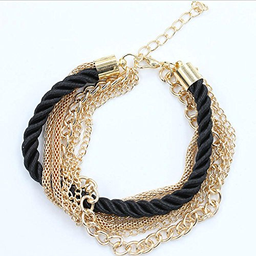 Jingmei moda donna bracciale corda in pelle fatta a mano, Black