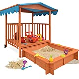Wooden Sand Box with Roofed Play Veranda - 130x130x143cm Large Outdoor Garden Sand Pit