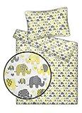 Kinderbettwäsche Elefanten 2-tlg. 100% Baumwolle 40x60 + 100x135 cm (gelb)