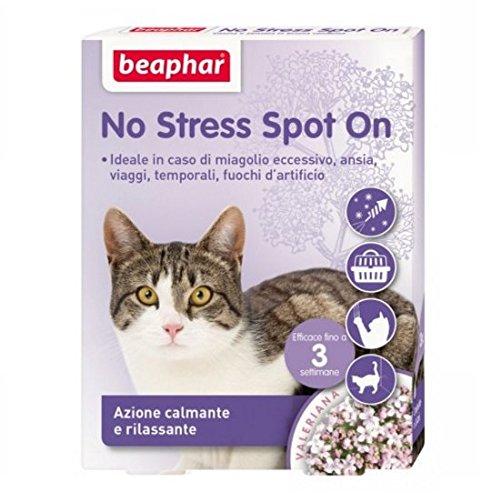 New Beaphar No Stress Spot On 3 pipette - Per gatto, azione calmante e rilassante