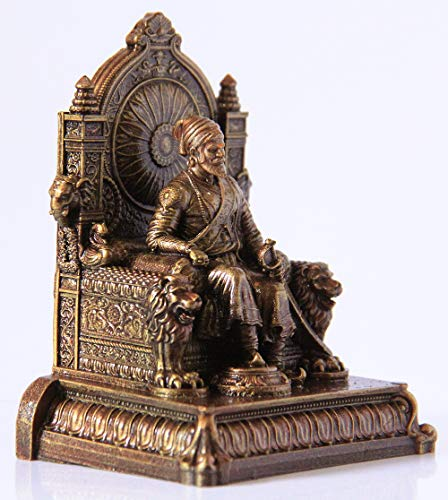 Rachana creation Chhatrapati Shivaji Maharaj Statue with Attractive Printed Box for Home Decor/Office Decor/Occasions (Standard Size, Bronze)