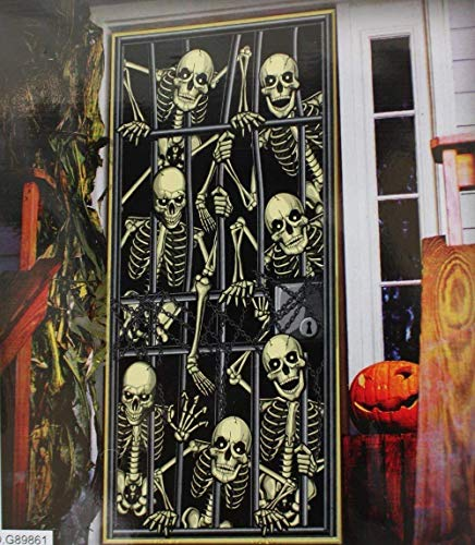 ina Halloween Tür, Skelette, Zombies, Hexe, Evil Clown, Geister und Kürbisse Skeltons in Jail ()