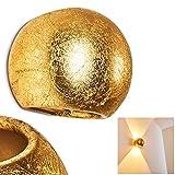 Wandleuchte Flot halbrund in Goldfarben – Keramik Leuchte mit 2 Lichtkegeln an der Wand - Moderner Wandstrahler für Wohnzimmer - Esszimmer Lampe - Flurlampe – G9-Fassung mit 33 Watt