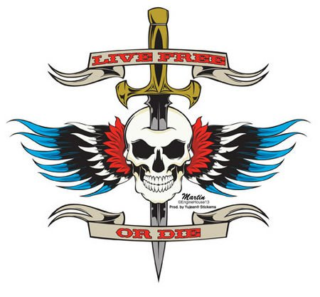 Enginehouse 13 - LLive Free Eagle Wing autocollant Sticker - 6.75