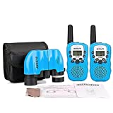 Retevis RT-388 PMR446 Kids Walkie Talkie Svbony 8x21 Binoculars Kids SV-26 and for Bird Watching Hiking Hunting Outdoor Play (Blue)