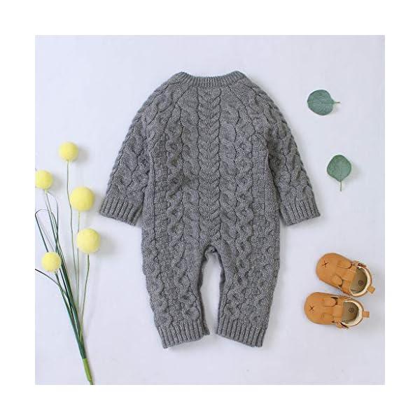 Mameluco de Punto de Invierno para bebé,Bebé recién Nacido niño niña Invierno Color sólido botón suéter Mono de Punto… 4