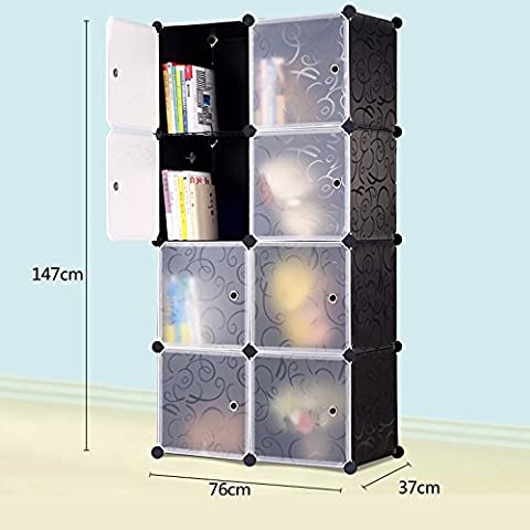 AcornFort DIY 8 Gates 2 Columns 4 Tiers Interlocking Book Shelves Storage Cubes Organisers 76CM * 37CM * 147CM