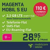 Telekom Magenta Mobil S EU Allnet, Flat mit 2,5GB LTE Internet Flat max. 300 MBit/s, Telefonie- und SMS-Flat in alle dt. Netze, EU Flat, 24 Monate Laufzeit, monatlich nur 28,95 EUR, Triple-Sim-Karten