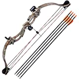 """Ampersand Shops Youth/Beginners Compound Bow Kit with Four (4) 28"""" Carbon Arrows"""