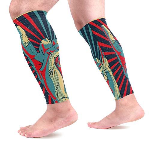 Bgejkos Hand in Rock Roll Zeichen Waden Kompression Ärmel Schienbeinschoner Unterstützung Beinschützer für Laufen, Radfahren, Reisen (1 Paar) -