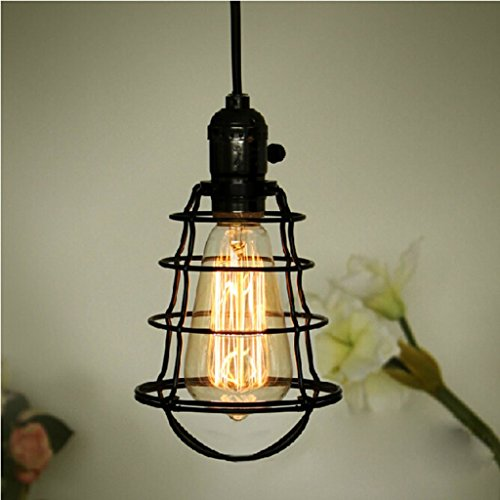 ChuanHan Luminaire Suspendu Luminaires Suspendus Mini Vintage Edison Suspendu en Cage Luminaire Suspendu Réglable Cordon Noir Fhousehold Kitchen Lighting