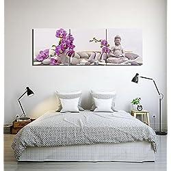LB Zen,Velas,Buda,Piedras de Masaje,orquídeas,púrpura_Imagen sobre Lienzo Decoración para el hogar,3 Paneles,40 x 40 CM,Sin Marco