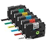 Wonfoucs kompatible Schriftband als Ersatz für Brother P-Touch TZe-231 TZe-431 TZe-531 TZe-631 TZe-731 TZe-335 für P-Touch PT-H105 PT-H100 PT-1005 PT-1000 PT-1010 PT-1080 PT-H101c, 12mm x 8m, 6er Pack