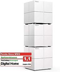 Tenda Nova MW6 3x echtes Dual-Band Mesh WLAN Komplettlösung (Bis zu 500m² WLAN, 3x Stationen, 6x Gigabit Ports, für Häuser, Büros, Wohnungen, MU-MIMO, Beamforming) Ersetzt Router, Powerline & Repeater