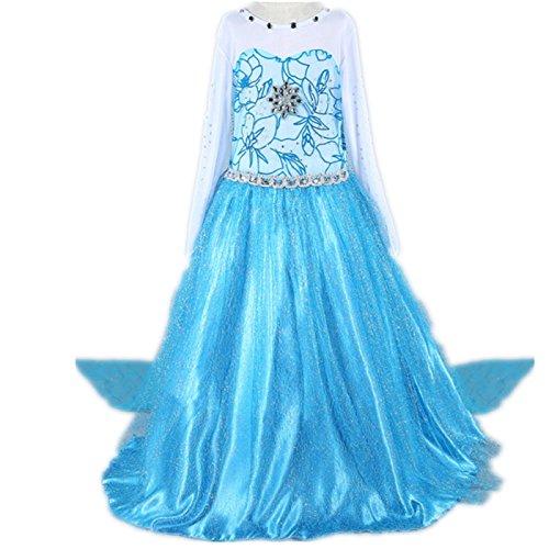 Kosplay Mädchen Prinzessin Kostüm Eiskönigin Kleid für Mädchen Schmetterling Karneval Verkleidung Party Cosplay Faschingskostüm Festkleid Weinachten Halloween Fest Kleid, Größe 120, Farbe Blau