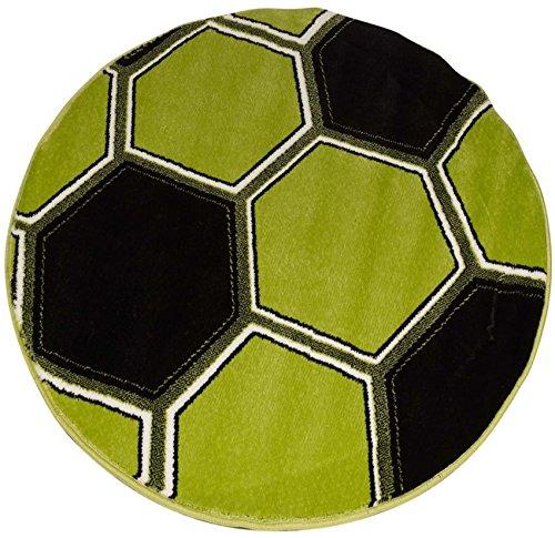 Runder Teppich, grüner Fußball, leuchtet im Dunkeln, 100x 100cm