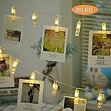 20 LED Foto Clips Lichterketten (2.2m, Batteriebetriebene, 3 Mode, Warmweiß), Timmungsbeleuchtung Dekoration für Party, Weihnachten, Dekoration,Hochzeit, Kunstwerke [Energieklasse A++]